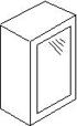 Βιτρίνα αμμοβολής με πηχάκι, 72 εκατοστά ύψος και 1 πόρτα